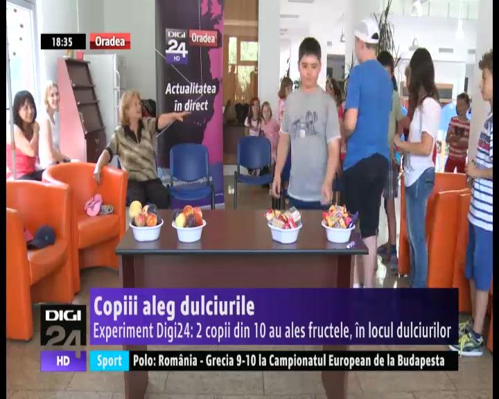 VIDEO   Experiment Digi24 Oradea: 2 copii din 10 au ales fructele, în locul dulciurilor