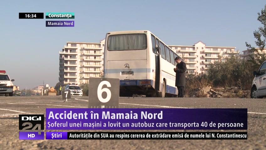 VIDEO | Accident în Mamaia Nord.Şoferul unei maşini a lovit un autobuz care transporta persoane